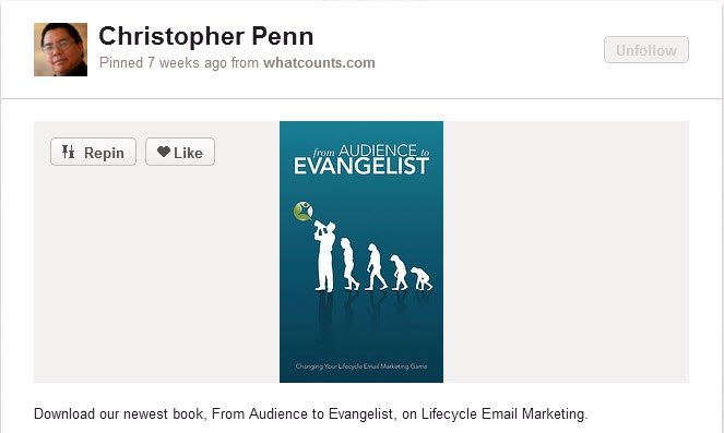 Pinning an eBook on Pinterest.