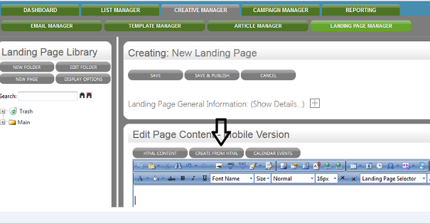 You can create mobile landing pages from the already existing HTML version.