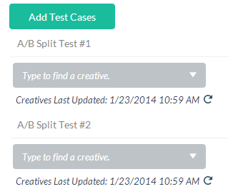 A/B testing screen in Publicaster