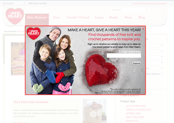Red Heart yarn's Valentine's Day lightbox is helping to add subscribers to the company's list.