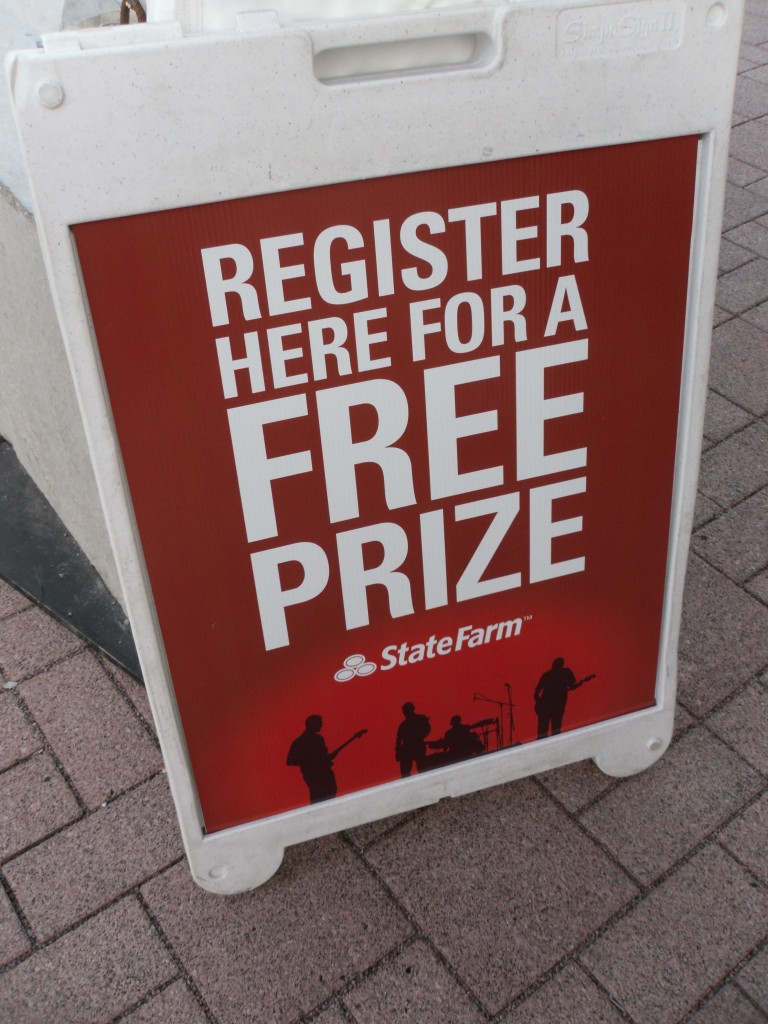Registering for a free prize