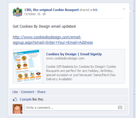 Post your email signup on your Facebook page.