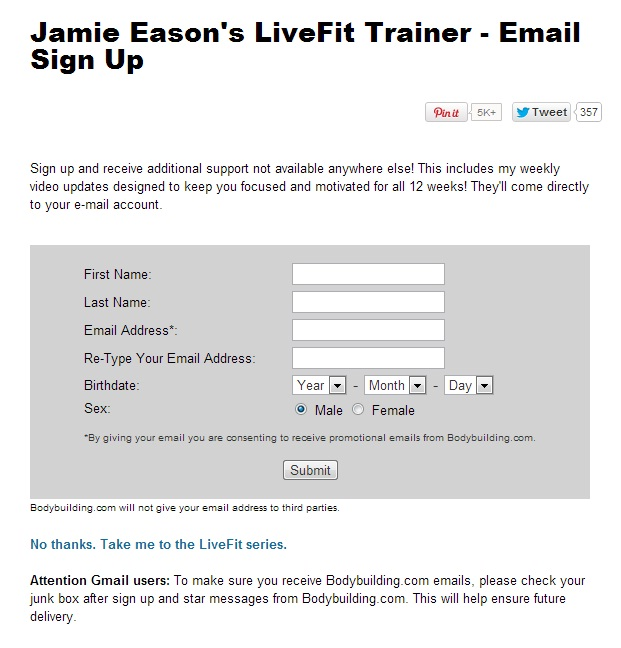 Example of email sign up form