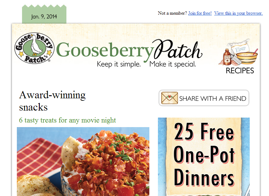 Gooseberry Patch encourages subscribers to share the emails with friends.