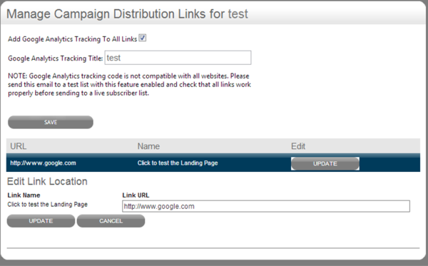 manage links campaign distribution menu