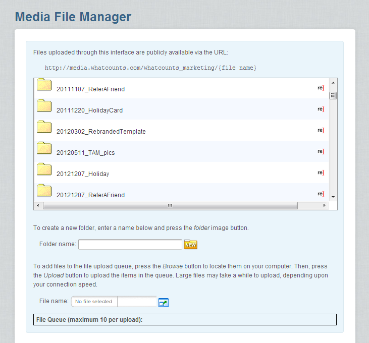 The files and folders in the Media Manager.