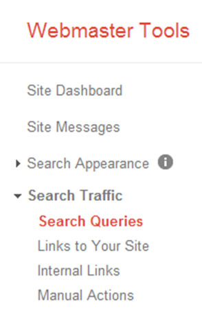 Go to Search Queries under Webmaster Tools in Google Analytics.