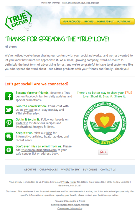 Email one in the True Citrus social delight campaign series.