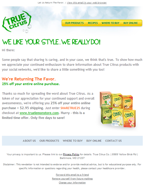 Email two in the True Citrus social delight campaign series.