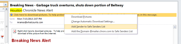 In Outlook, add to the safe sender's list.