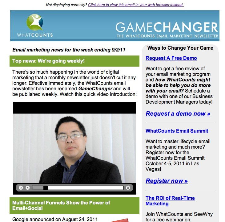 Screen capture of our recent email newsletter with video