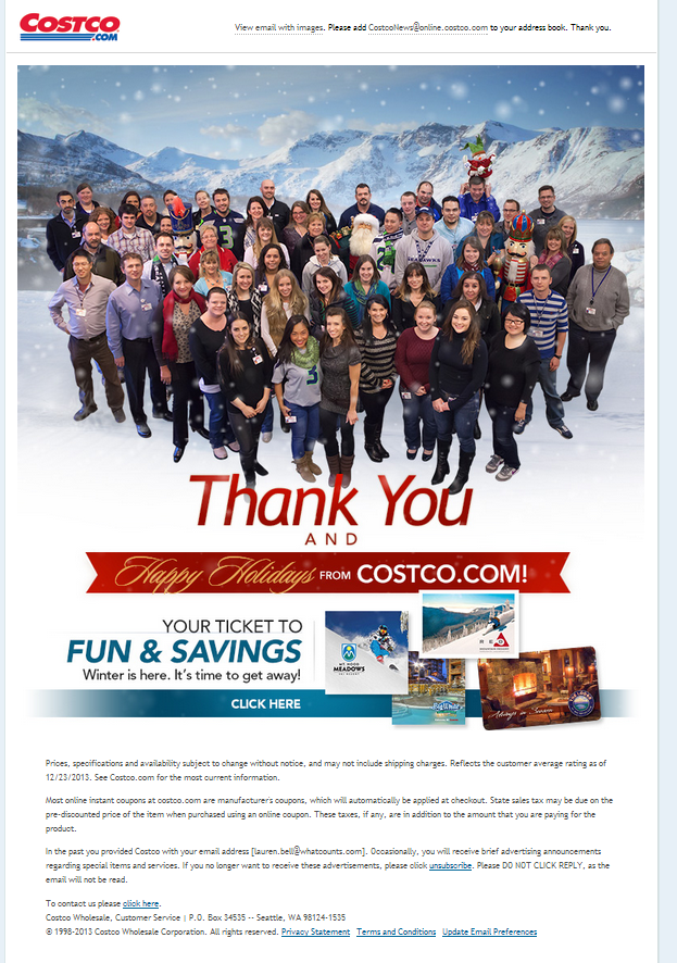 A Christmas thank-you email from Costco.