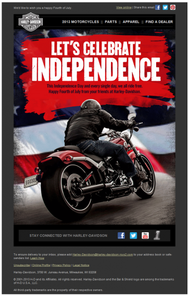 This July email campaign celebrates independence.
