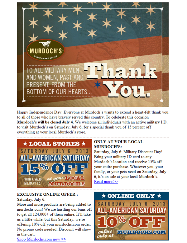 Murdoch's says thank you with this July email campaign.