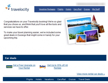 Travelocity uses upselling in this email campaign.