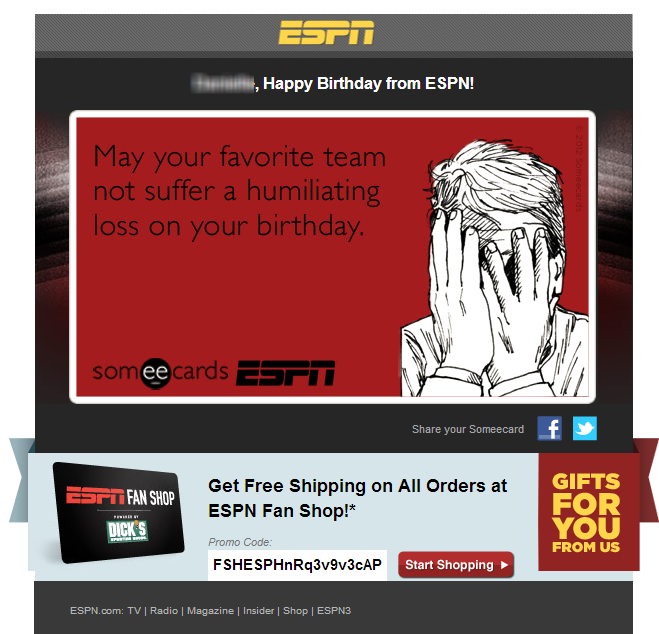 Happy birthday from ESPN!