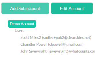 Creating a subaccount is just a few clicks away.