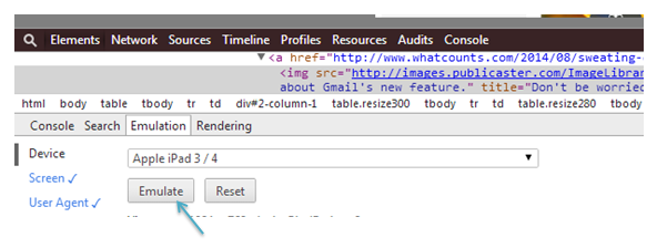 For previewing emails, click the Emulate tab.