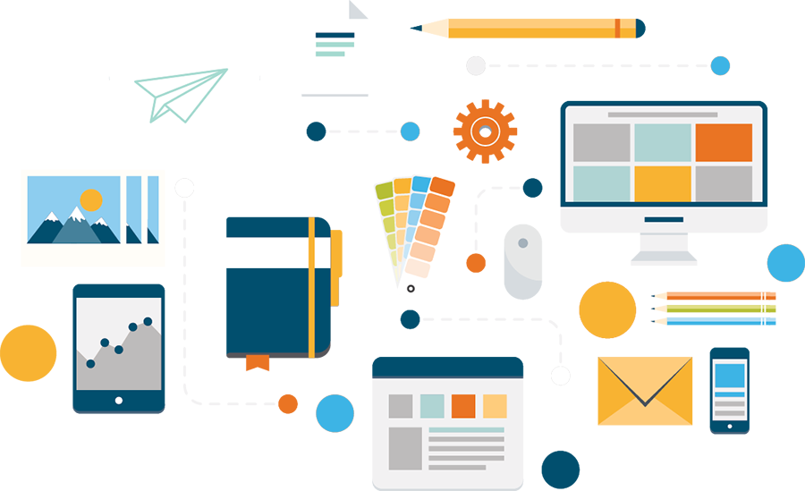Email Marketing Design Services image with computers and graphs