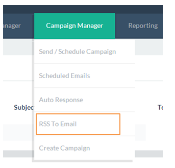 Choose RSS-to-Email in the Campaign Manager.