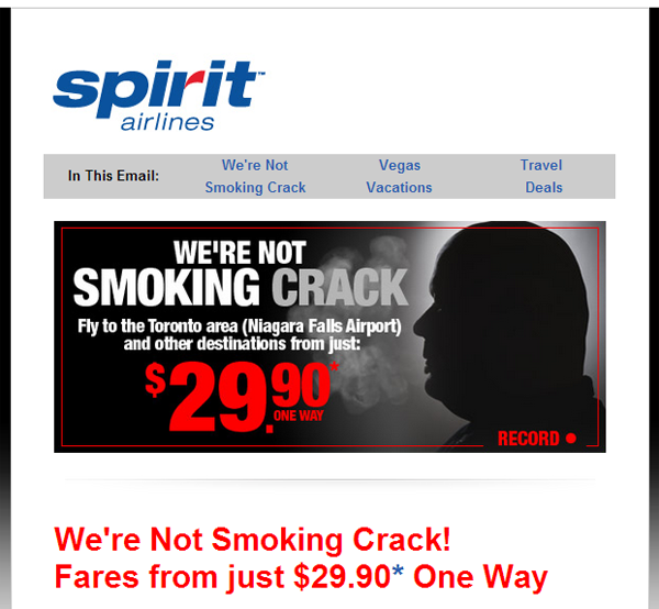 A clever pun for Canadian flights - Spirit Airlines goes edgy with emails.