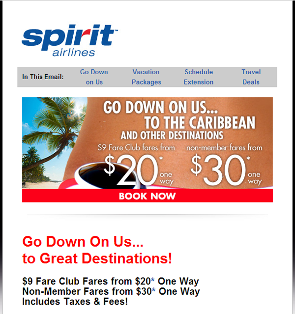 Going edgy with email for flights to the Carribean.