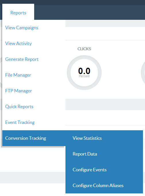 Find conversion tracking reports in the reports dropdown menu.