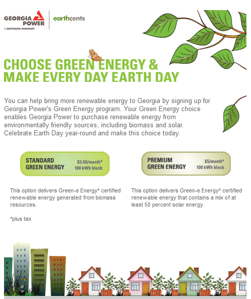 Georgia Power's seasonal email campaign using Earth Day to promote its brand