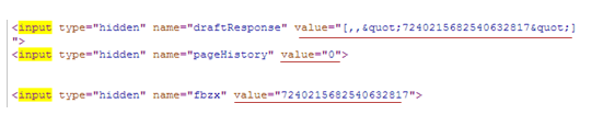 Find the values of the hidden input fields.