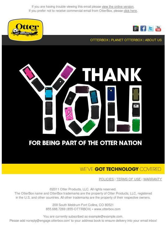 A thank-you email from Otterbox.