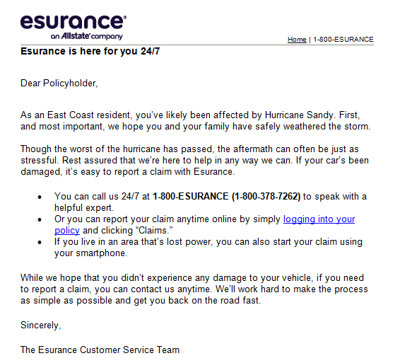 Esurance provides helpful information in the face of bad weather.