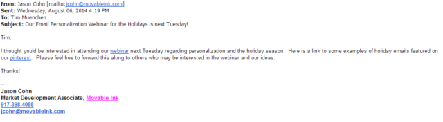 Sample of Email Personalization