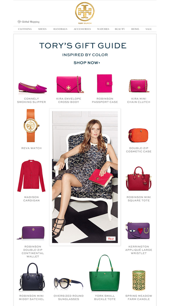 Tory Burch provides gift-purchasing ideas for subscribers.