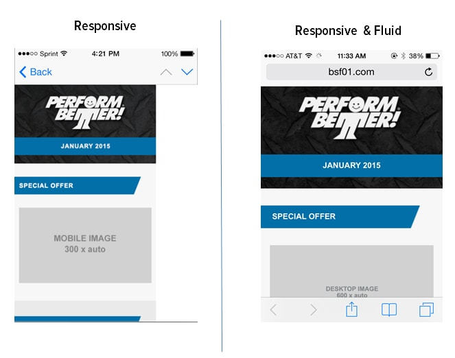 comparing fluid and responsive email design