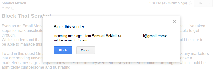 how to use email block gmail