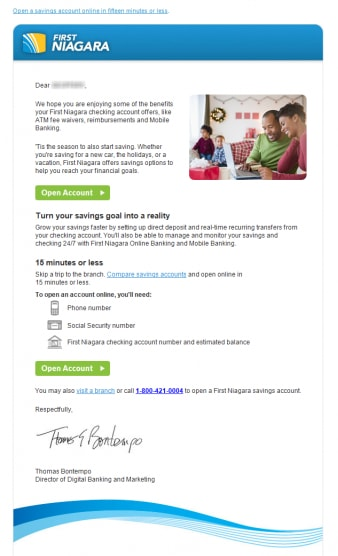 First Niagara Bank cross-sells its savings account in this email.
