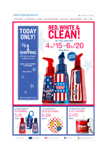 Take a look at this Memorial Day email marketing campaign from Bath and Body Works.