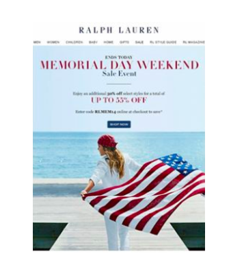 This summer email marketing for Memorial Day from Ralph Lauren is a great example.