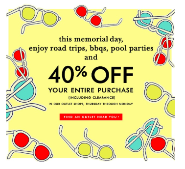 Check out this Memorial Day summer email marketing campaign from Warby Parker.