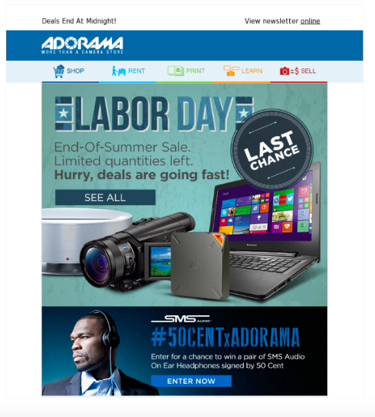 Adorama's Labor Day email marketing is creative.