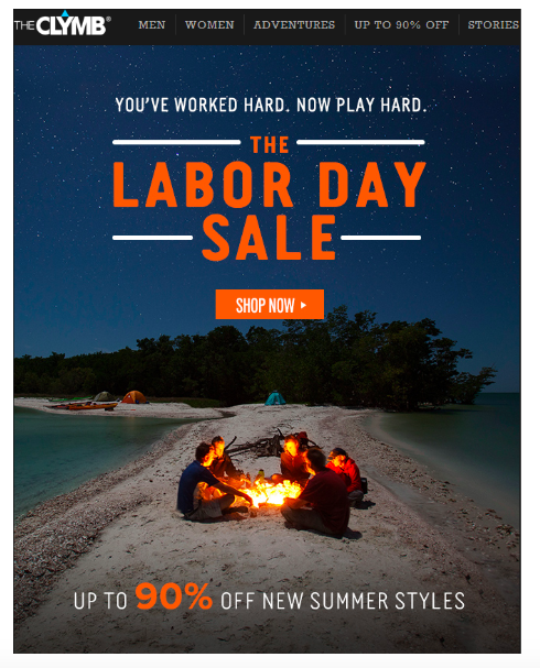 Clymb Labor Day email marketing example.