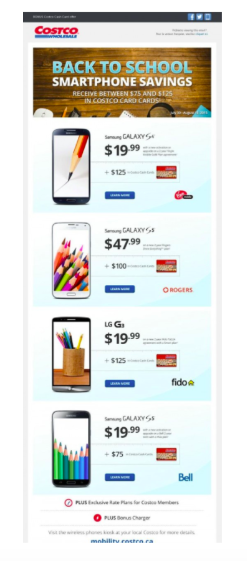 Costco back-to-school email marketing example.