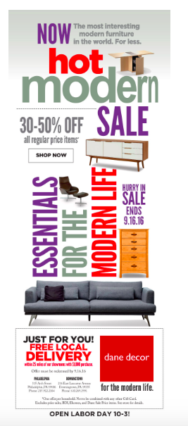 Here's a good example of furniture Labor Day email marketing.