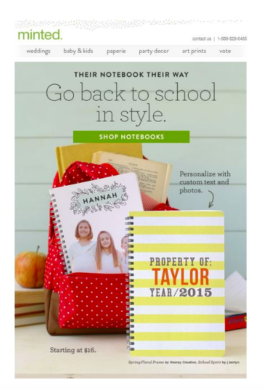 An example of back-to-school email marketing.