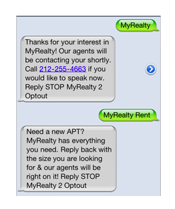 SMS marketing campaigns: An examples from MyRealty.