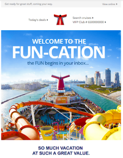 An example of Carnival Cruises email marketing.