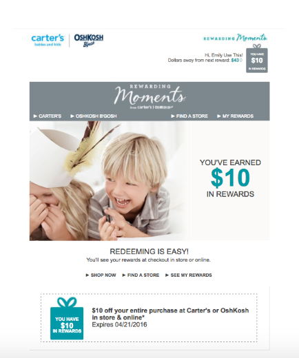 Learn from Carter's loyalty and frequent purchaser program.