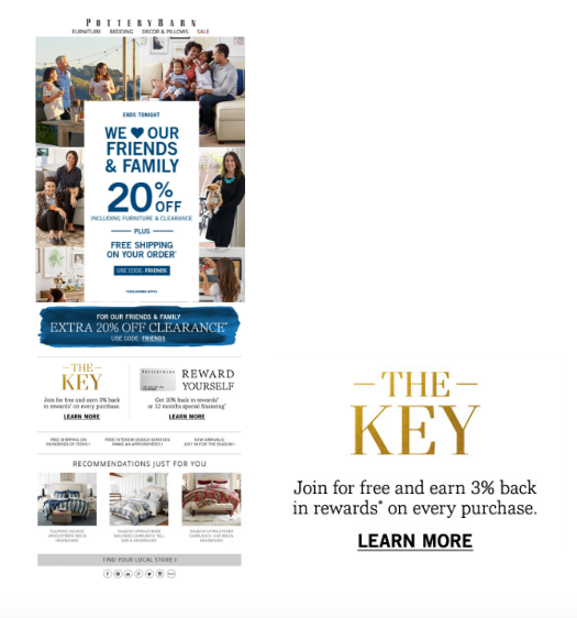 Take a look at the loyalty email marketing program called The Key.