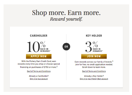 Pottery Barn's loyalty program landing page.
