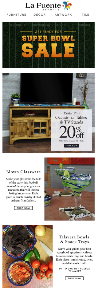 Home Goods Super Bowl Promotion Example